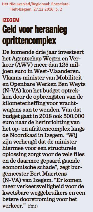 Het Nieuwsblad/Regionaal: Roeselare-Tielt-Izegem, 27.12.2016, p. 2