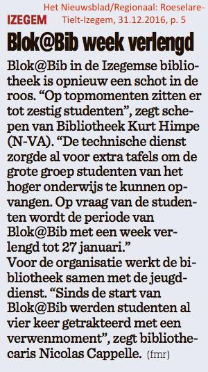 Het Nieuwsblad/Regionaal: Roeselare-Tielt-Izegem, 31.12.2016, p. 5
